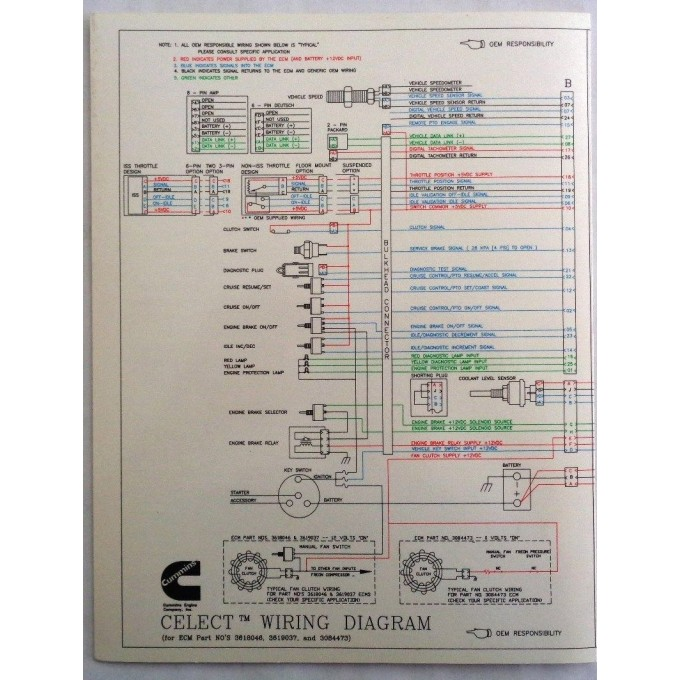 new cummins l10, m11, n14 celect engines electrical diagram laminated  brochure