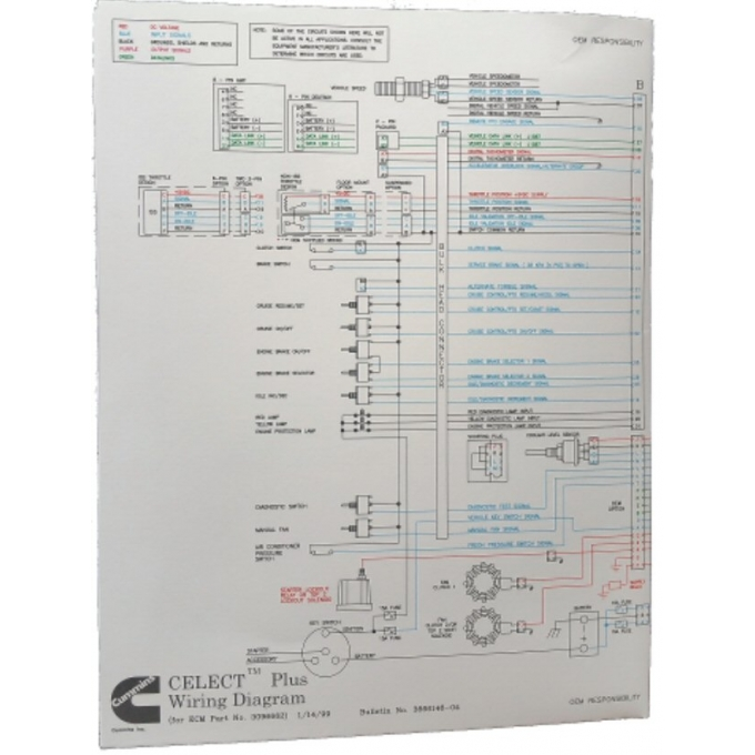 new cummins l10 m11 n14 celectplus engines electrical diagram laminated brochure